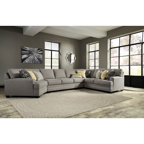 Ashley/Benchcraft Cresson Contemporary 4-Piece Sectional w/ Cuddler & Armless Sofa