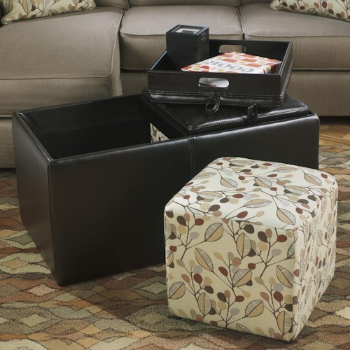 Benchcraft Danely Cocktail Ottoman with Storage, Flip Trays, and Cube Ottomans