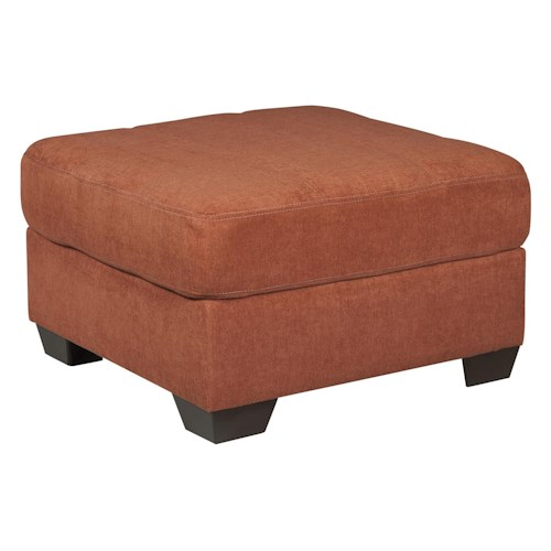Ashley/Benchcraft Delta City - Rust Contemporary Oversized Accent Ottoman