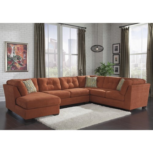 Benchcraft Delta City - Rust 3-Piece Modular Sectional w/ Armless Sleeper & Left Chaise