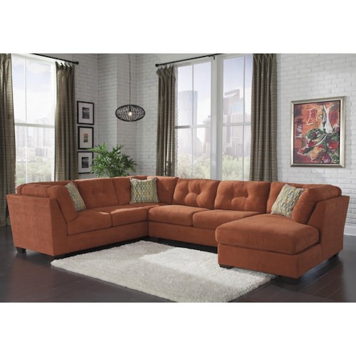 Benchcraft Delta City - Rust 3-Piece Modular Sectional with Right Chaise