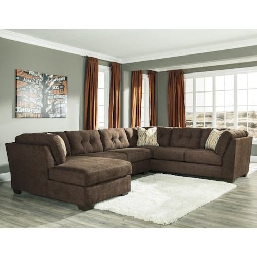 Benchcraft Delta City - Chocolate 3-Piece Modular Sectional w/ Armless Sleeper & Left Chaise