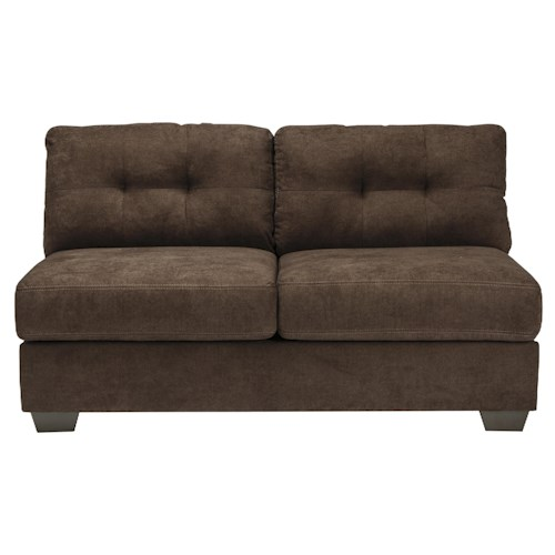 Benchcraft Delta City - Chocolate Contemporary Armless Loveseat with Tufted Back