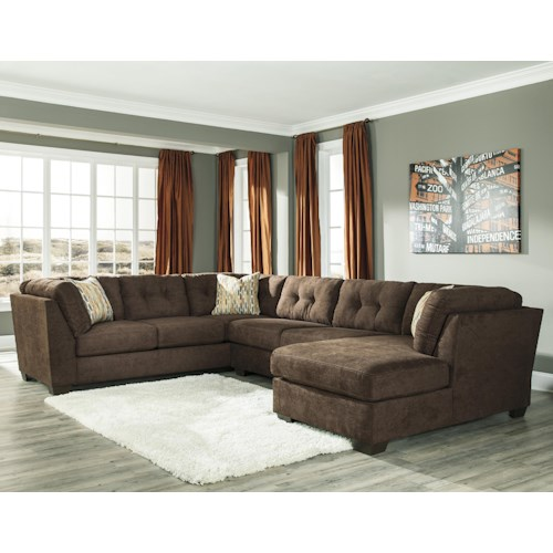 Benchcraft Delta City - Chocolate 3-Piece Modular Sectional w/ Armless Sleeper & Right Chaise