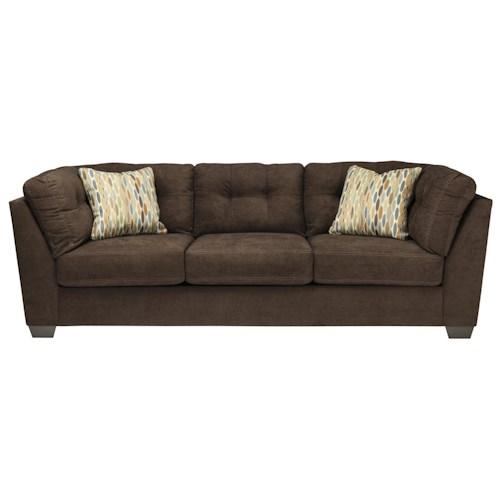 Benchcraft Delta City - Chocolate Contemporary Sofa with Shelter Arms and Tufted Back