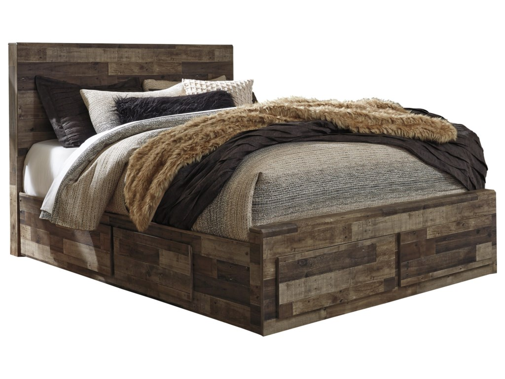 Benchcraft Derekson Rustic Modern Queen Storage Bed with 6 Drawers ...