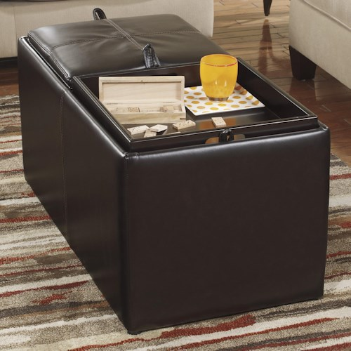 Ashley/Benchcraft Deshan Accents Rectangular Brown Ottoman With Storage & 2 Cubes Inside