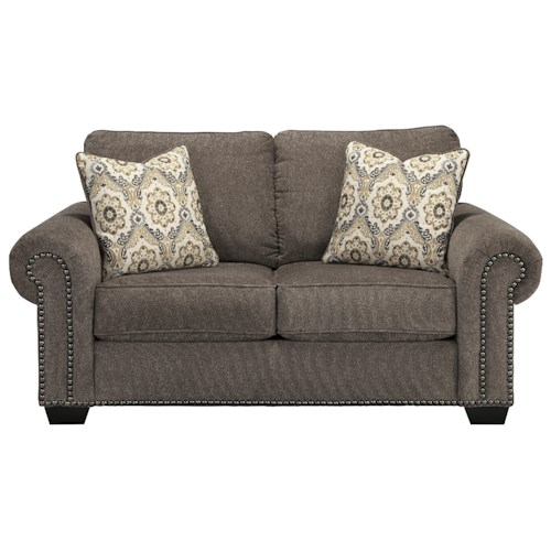Benchcraft Emelen Transitional Loveseat with Nailhead Trim & Coil Seating
