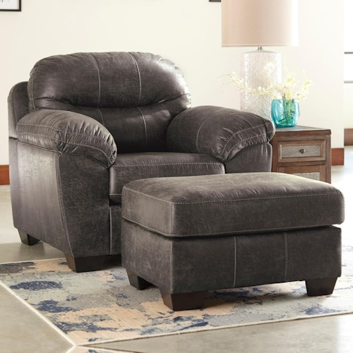 Ashley/Benchcraft Havilyn Gray Faux Leather Chair & Ottoman