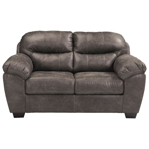 Benchcraft Havilyn Gray Faux Leather Loveseat with Coil Seat Cushions