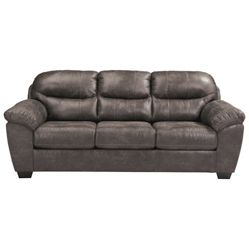 Benchcraft Havilyn Gray Faux Leather Sofa with Coil Seat Cushions