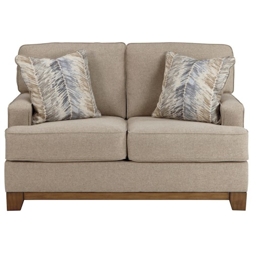 Benchcraft Sansimeon Contemporary Loveseat with Exposed Wood Front Rail