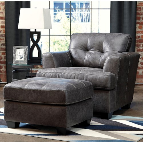 Benchcraft Inmon Faux Leather Chair & Ottoman