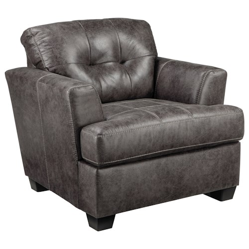 Ashley Inmon Faux Leather Chair with Tufted Back