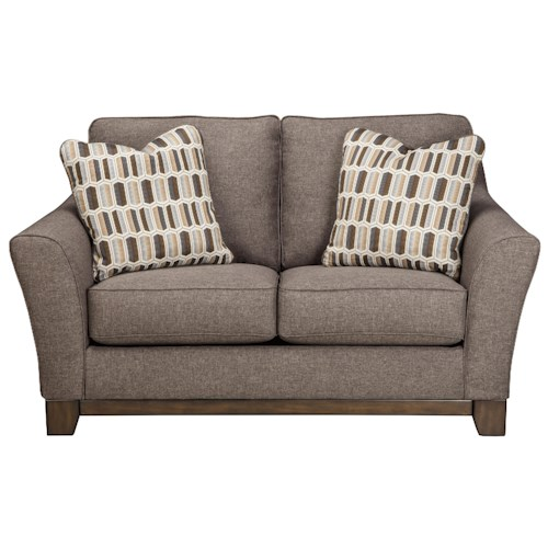 Ashley Janley Contemporary Loveseat with Front Wood Rail