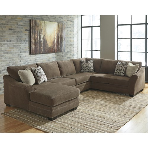 Benchcraft Justyna Contemporary 3-Piece Sectional with Left Chaise