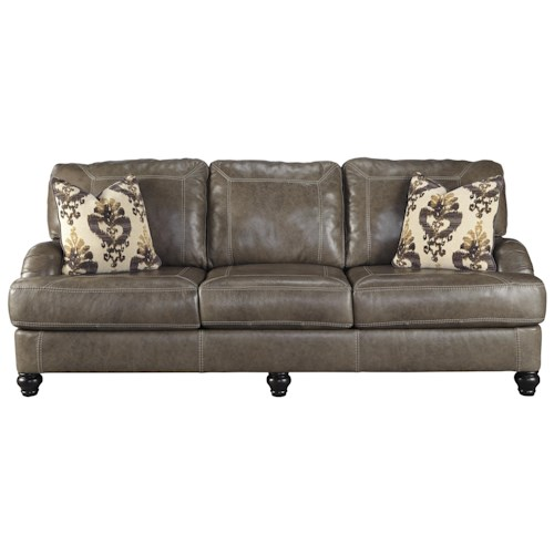 Ashley Kannerdy Leather Match Queen Sofa Sleeper with English Arms
