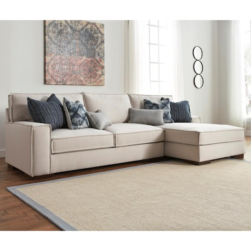 Ashley/Benchcraft Kendleton Modern 2-Piece Sectional with Right Chaise and UltraPlush Seat Cushions