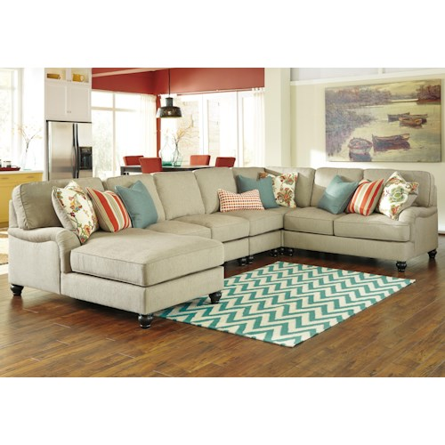 Ashley/Benchcraft Kerridon 5-Piece Sectional with English Arms & Left Chaise