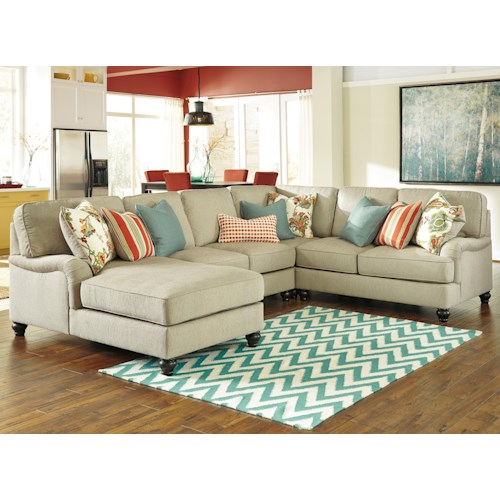 Ashley/Benchcraft Kerridon 4-Piece Sectional with English Arms & Left Chaise