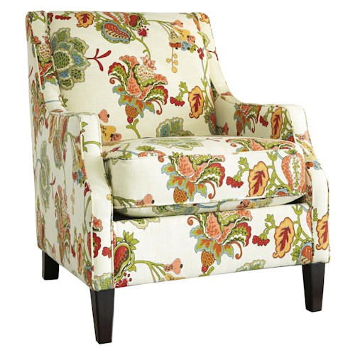 Benchcraft Kerridon Transitional Accent Chair with Floral Fabric and Set Back Track Arms