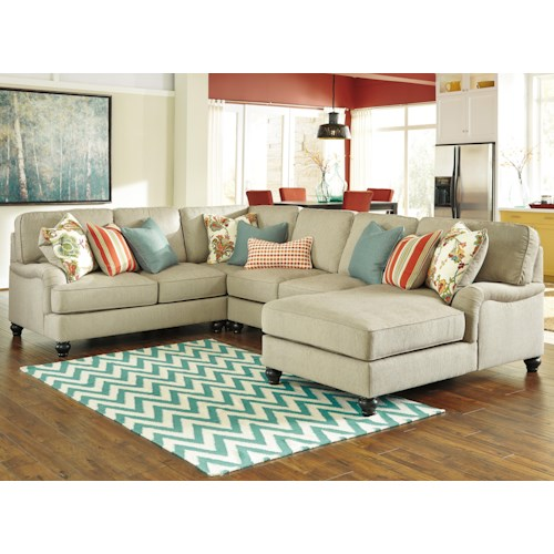 Benchcraft Kerridon 4-Piece Sectional with English Arms & Right Chaise