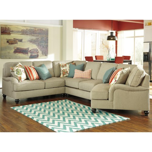 Benchcraft Kerridon 4-Piece Sectional with English Arms & Right Cuddler