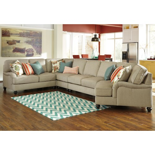 Benchcraft Kerridon 5-Piece Sectional with English Arms & Right Cuddler