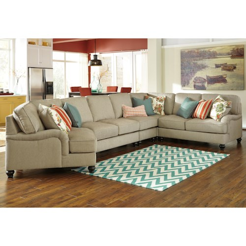 Benchcraft Kerridon 5-Piece Sectional with English Arms & Left Cuddler