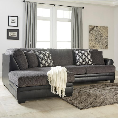 Ashley Kumasi 2-Piece Fabric/Faux Leather Sectional with Left Chaise