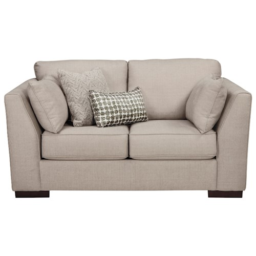 Ashley/Benchcraft Lainier Loveseat with Shelter Arms and Reversible Coil Seat Cushions
