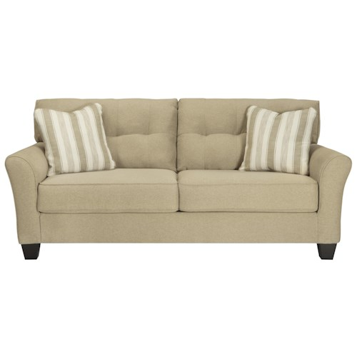 Benchcraft Laryn Contemporary Queen Sofa Sleeper in Khaki Fabric