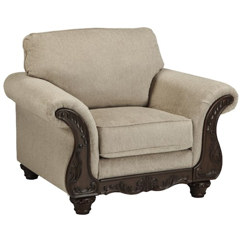 Ashley Laytonsville Traditional Chair with Ornate Rolled Arms
