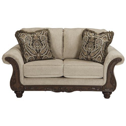 Benchcraft Laytonsville Traditional Loveseat with Ornate Rolled Arms