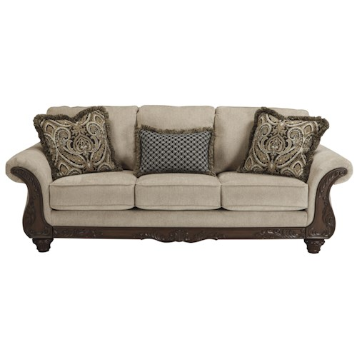 Ashley/Benchcraft Laytonsville Traditional Sofa with Ornate Rolled Arms