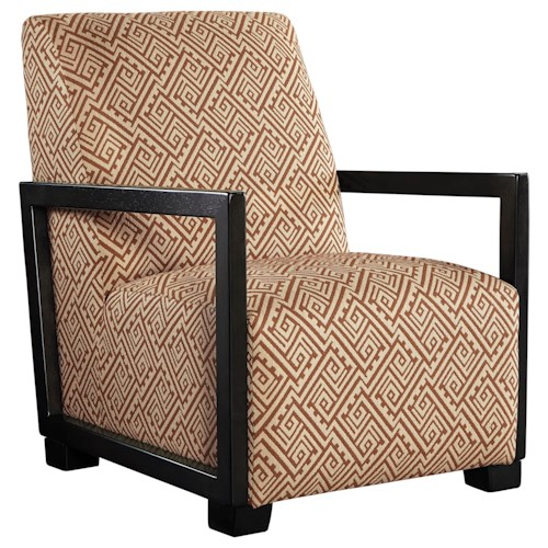 Benchcraft Leola Contemporary Accent Chair with Wood Arms