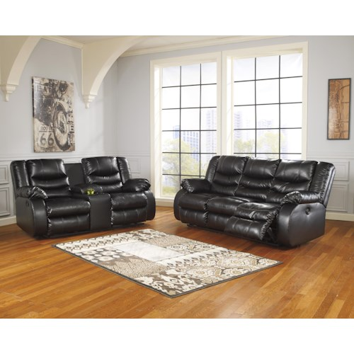 Ashley/Benchcraft Linebacker DuraBlend - Black Reclining Living Room Group