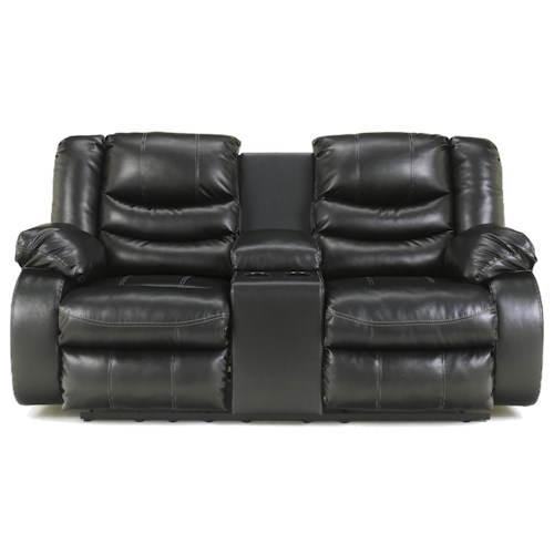 Ashley Linebacker DuraBlend - Black Contemporary Double Reclining Loveseat with Console