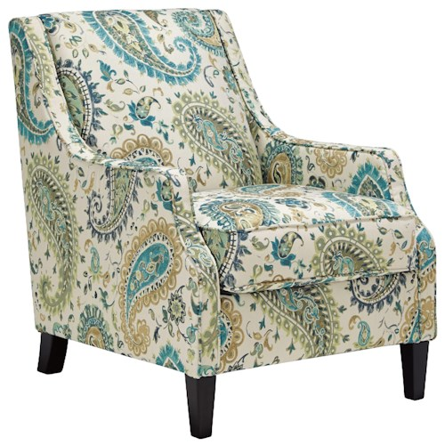 Benchcraft Juliet Transitional Accent Chair in Paisley Fabric with Reversible Seat Cushion