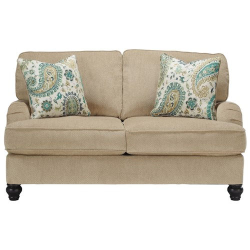 Benchcraft Lochian Transitional Loveseat with Reversible Seat Cushions & English Arms