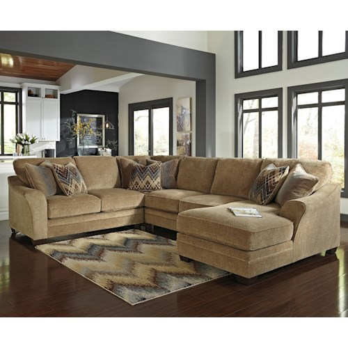 Benchcraft Lonsdale Contemporary 4-Piece Sectional with Right Chaise