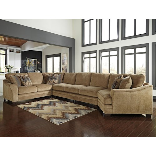 Ashley Lonsdale Contemporary 4-Piece Sectional w/ Armless Sofa & Right Cuddler