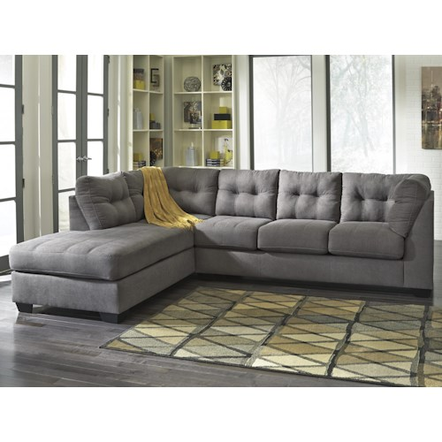 Benchcraft Maier - Charcoal 2-Piece Sectional w/ Sleeper Sofa & Left Chaise