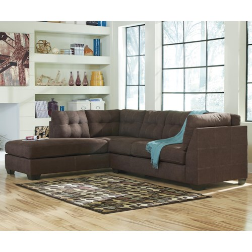 Ashley/Benchcraft Maier - Walnut 2-Piece Sectional w/ Sleeper Sofa & Left Chaise