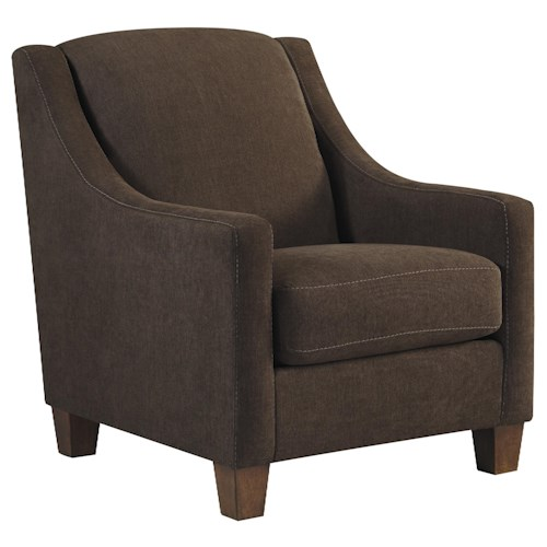 Ashley/Benchcraft Maier - Walnut Contemporary Accent Chair with Sloping Track Arms