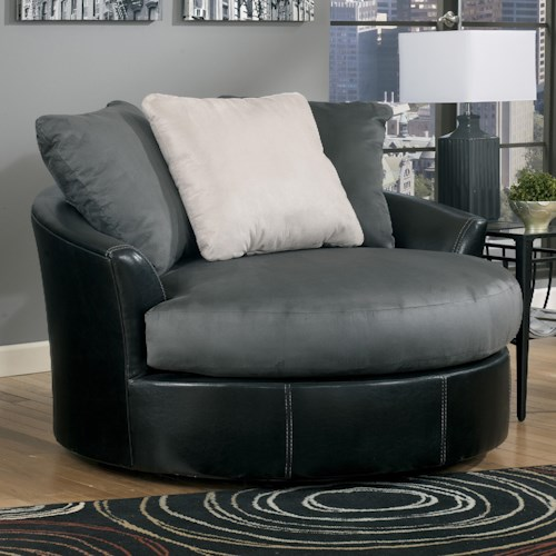 Ashley/Benchcraft Masoli - Cobblestone Oversized Swivel Accent Chair
