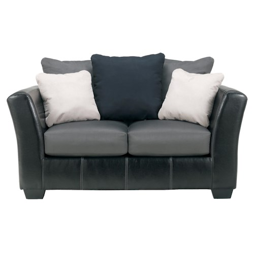 Benchcraft Masoli - Cobblestone Faux Leather/Fabric Loveseat with Loose Back Pillows