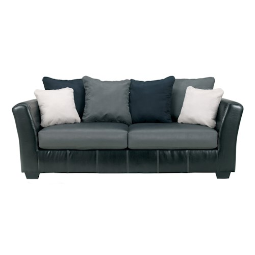 Ashley/Benchcraft Masoli - Cobblestone Faux Leather/Fabric Sofa with Loose Back Pillows
