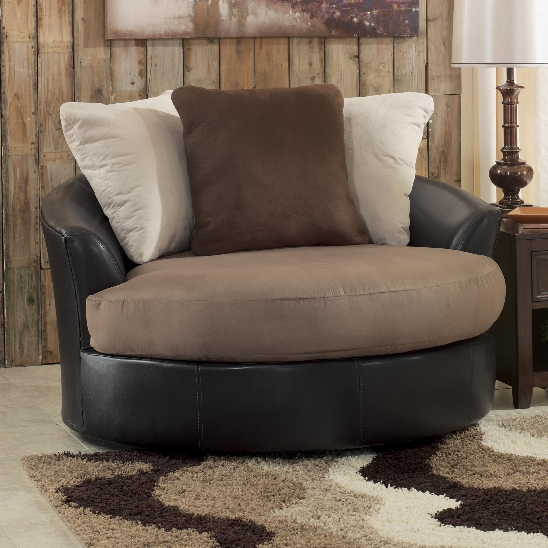 Black oversized swivel accent chair - Benchcraft Masoli Mocha Oversized Swivel Accent Chair