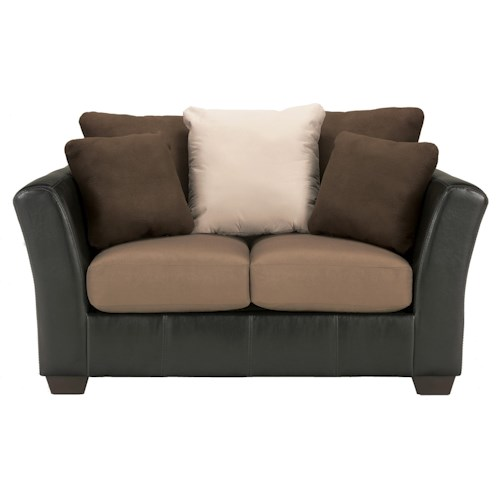 Benchcraft Masoli - Mocha Faux Leather/Fabric Loveseat with Loose Back Pillows
